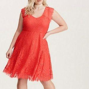 Torrid coral lace dress size 2X